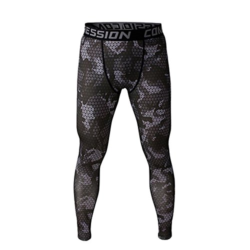 1Bests Men's Running Fitness Camo Compression Pants Gym Workout Quick Dry Thermal Baselayer Tights Leggings (M, Dark Grid)