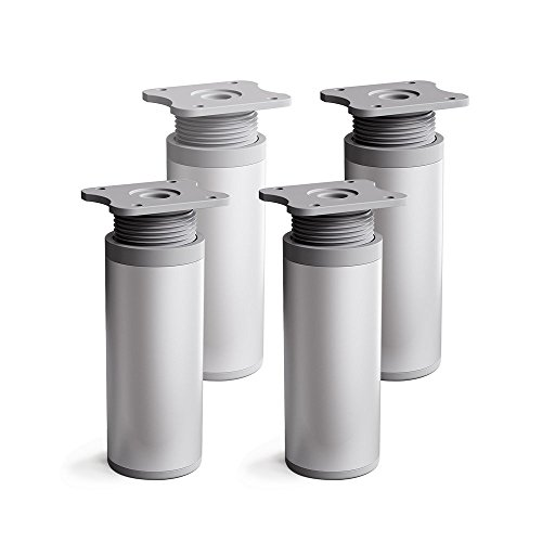 sossai® Gambe per mobili MFR1 | set di 4 | regolabili in altezza | Altezza: 120 mm (+20mm) | Design: Alu | Forma rotonda: 40 x 40 mm | Viti inclusi