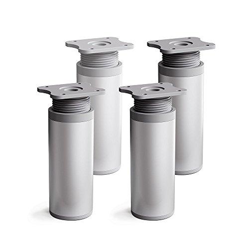 sossai® Design-Möbelfüße MFR1   höhenverstellbar   4er Set   Rund-Profil: 40 x 40 mm   Farbe: Alu   Höhe: 120mm (+20mm)   Material: Aluminium   Hochwertige Holzschrauben inklusive