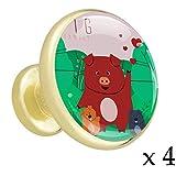 Schwein-Familien-Rot 4 Stück Gold Knöpfe Mixed Metal Küchenmöbel Schublade Griffe und zieht Metalllegierung Knöpfe mit goldenem Metallboden für Schränke, Garderobe, Türen, Kommode 32mm