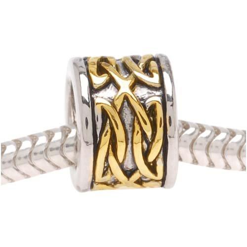 Beadaholique Celtic Knot Silver Tone Bead, Fits Pandora, 22K Gold Plated