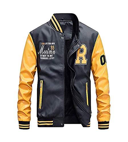 Minetom Uomo/Signori/Ragazzi PU Pelle College Baseball Jacket Felpa Motociclista Giacca Giubbotto A Giallo XS
