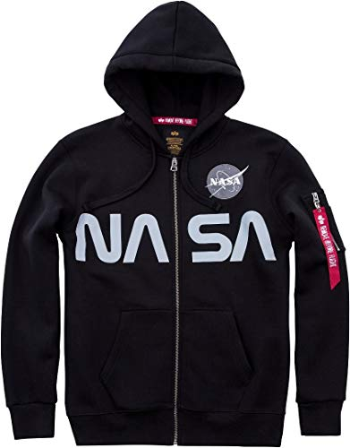 Alpha Industries NASA Zip Hoodie Schwarz M