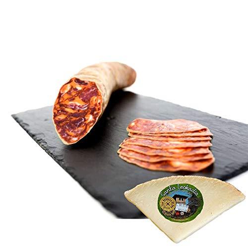 Chorizo Ibérico de Bellota Leoncio Elaboración Tradicional y Curación en Bodega. Pieza de 1400 gramos Envasada al Vacío - Incluye Cuña Degustación Queso de Oveja Curado de REGALO