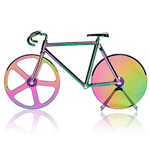 N/D Besylo Fahrrad Pizzaschneider, Pizza Cutter aus, Fahrradform-Pizzaschneider mit Ständer, Schneidräder aus Edelstahl, Cutter für Pizza und Teig, für Küchengeräte