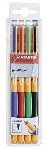 Tintenroller - STABILO pointVisco - 4er Pack - blau, rot, grün, schwarz