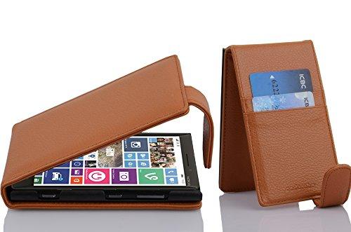 Cadorabo Hülle für Nokia Lumia 929/930 in Cognac BRAUN - Handyhülle im Flip Design aus Strukturiertem Kunstleder - Hülle Cover Schutzhülle Etui Tasche Book Klapp Style