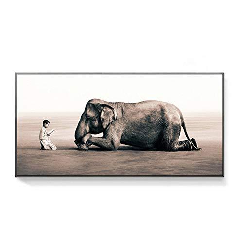 wzgsffs Nordic Leinwand Malerei Schwarz Weiß Elefanten Bild Tier wandmalereien für Wohnzimmer große decoracion Kunst poster-50x100 cm Kein Rahmen