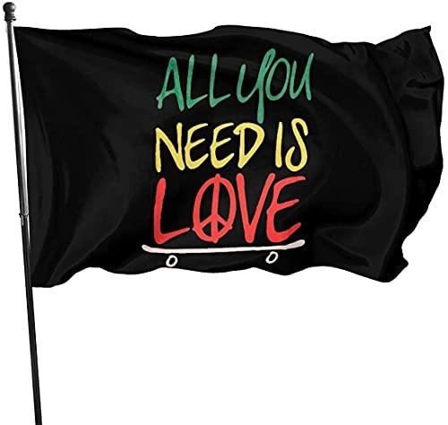 90 x 150 cm Flagge Fahnen Banner All You Need Is Love Skateboard Dekorative Gartenflaggen, Outdoor Künstliche Flagge für Haus, Garten, Hofdekoration