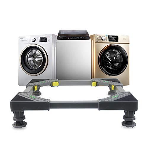 Grandekor Waschmaschine Sockel verstellbar Waschmaschinenunterlage mit 4 Füßen, Universal Untergestell für Waschmaschine Trockner und Kühlschrank 47.5-62cm