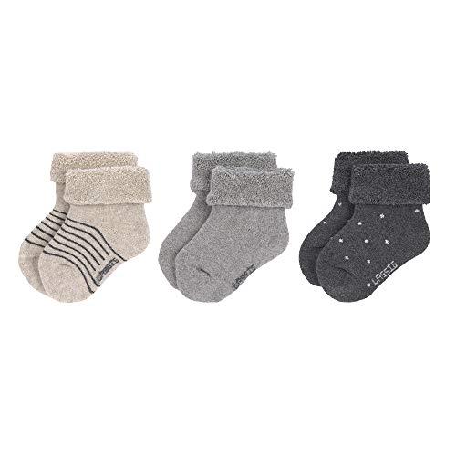 LÄSSIG Socken Neugeborene GOTS Bio-Baumwolle (3er Pack) Grey, Größe: 19-22