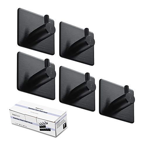BasicForm Ganchos Adhesivos de Acero Inoxidable Ultra Fuerte Adhesivo para Baño y Cocina Negro (1-Gancho x 5 Piezas)