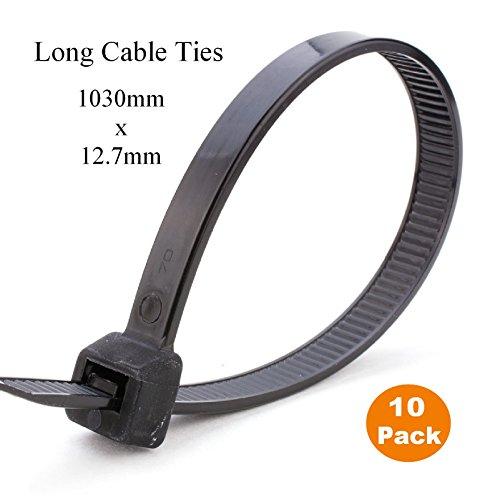 10 x 1 Meter schwarz Extra lange Krawatten 1030mm x 12.7mm Schwerlast Zip Kabelbinder