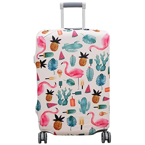 Thickened Suitcase Cover 18/24/28/32 Inch Luggage Spandex Protective Cover (S(18'-21'luggage), White Flamingo)