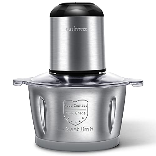 Electric Food Chopper, Cusimax Food Processor, 350W Meat Grinder with 2L (8-Cup) Stainless Steel Bowl and 4 Sharp Blades, 2-Speed Blender Grinder for Meat, Vegetables, Fruits