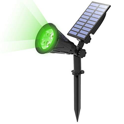 T-SUN Foco Solar, Impermeable Luces Solares Exterior, 2 Modos de Iluminación Opcionales, Funciona de 10 Horas, ángulo de 180° Ajustable, Luz de Jardín para Entrada, Entrada, Camino. (Verde)