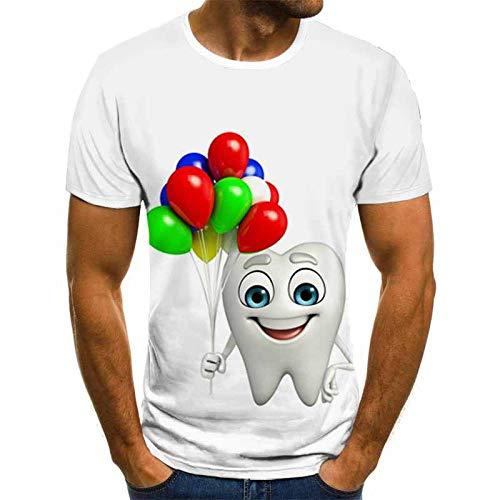 Herren Hemd Kurzarm leinen Kleine weiße Zähne T-Shirt mit farbigen Luftballons, männliches 3DT-Shirt, kurzärmeliger Rundhals-Digitaldruck lässig kurzärmelig Color_S