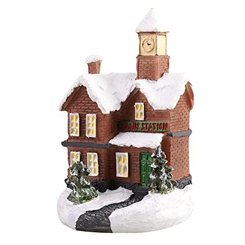 Fencelly - Scena natalizia a LED per villaggio di neve, in resina luminosa per casa di Natale