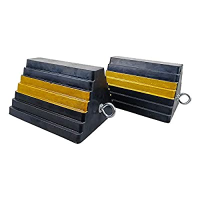 """ROBLOCK 2 Pack Wheel Chocks Rubber Heavy Duty Black with Yellow Reflective Paint, 9"""" Length x 7.1"""" Width x 5.5"""" Height"""