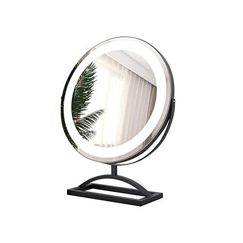YUMEIGE Schminkspiegel Make-up-Spiegel-Desktop-LED-Licht Tischladekosmetikspiegel, 360 ° drehbar, 10-facher Vergrößerung, Touch Screen, 3 Dimmbare (Color : Black, Size : 30cm)