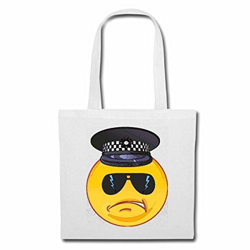 Tasche Umhängetasche Smiley ALS Polizist MIT MÜTZE UND Sonnenbrille Smileys Smilies Android iPhone Emoticons IOS GRINSE Gesicht Emoticon APP Einkaufstasche Schulbeutel Turnbeutel in Weiß