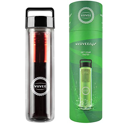 Viivee Life ® Theefles met zeef to go (500ml) thermofles voor warme en koude dranken glas drinkfles 100% BPA gratis theepot dubbelwandig voor thee | Detox | Smoothie | Infused Fruit Water 500ml Black Grip