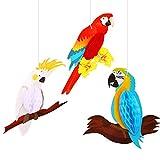 6 Piezas Decoraciones Colgantes de Loro,MWOOT Panal de loro de Pájaros Tropicales Hawaiia...
