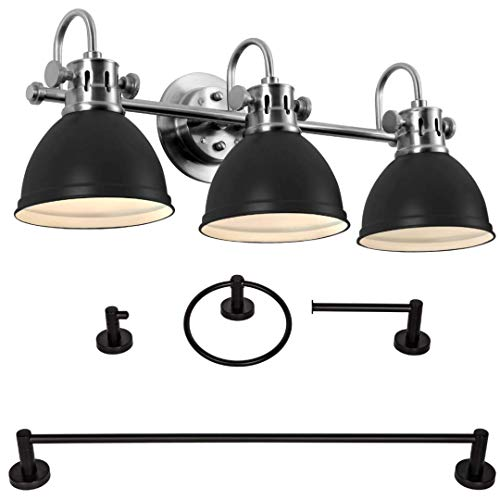 THE YODELING GOAT - Bathroom Vanity Light Fixtures & Bathroom Hardware Set 4 Piece, Bathroom Light Fixtures Brushed Nickel with Black Vanity Light Shades, Bathroom Lighting Fixtures Over Mirror