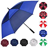 MRTLLOA Automatic Open Golf Umbrella, 62/68 Inch Extra-Large Oversized Double Canopy Vented Windproof Waterproof Stick Rain Golf Umbrellas for Men and Women (Royal/Navy Blue, 62 inch)