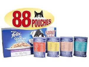 Felix So gut wie es aussieht Katzenfutter mit verschiedenen Geschmacksrichtungen, 88 x 100 g
