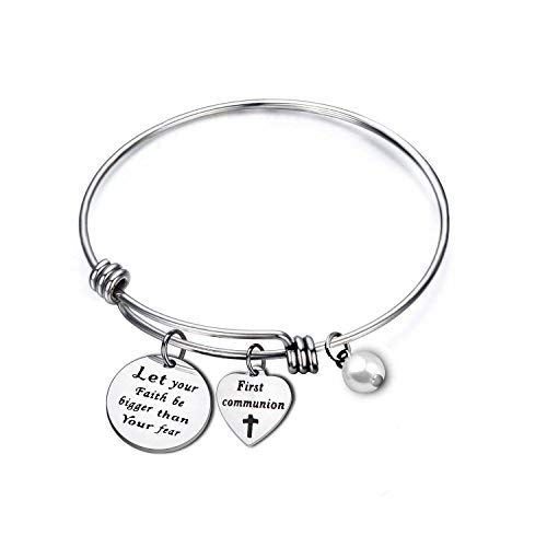 First Communion Gift for Girls Baptismal Jewelry for Goddaughter (Bangle)