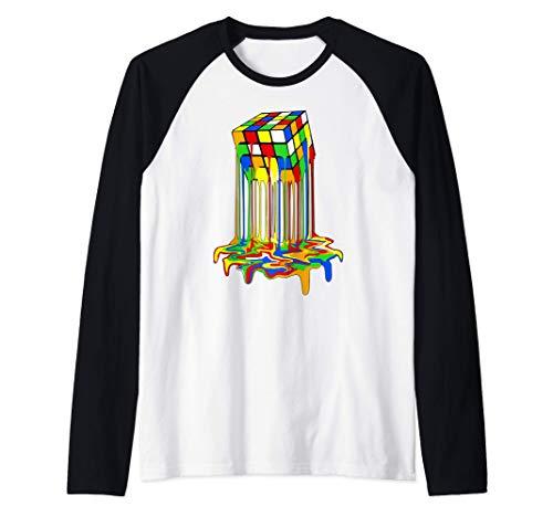 rubic rubix rubik cubo magico derretiso grafica Camiseta Manga Raglan