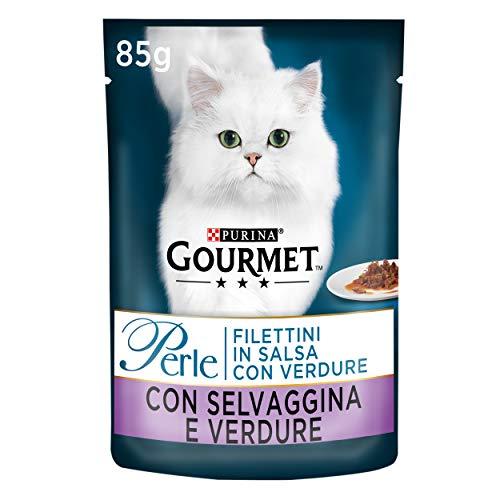 Purina Gourmet Perle Umido Gatto Filettini in Salsa con Verdure, con Selvaggina e Verdure, 24 Buste da 85 g Ciascuna, Confezione da 24 x 85 g