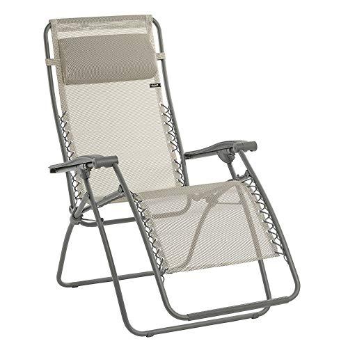 Lafuma Relax-Liegestuhl, Klappbar und verstellbar, Mit Schnürsystem, RSXA, Batyline, seigle (beige)