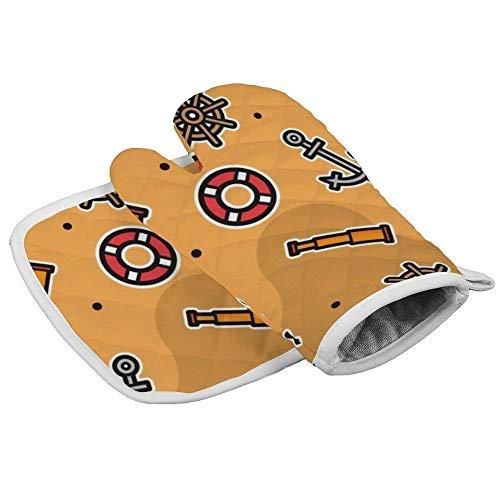 Guantes de horno resistentes al calor + 1 soporte para ollas de algodón, guantes de horno antideslizantes para cocina, hornear, barbacoa, asar a máquina (patrones de ladrón y policía 2)