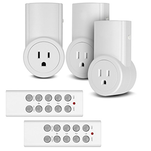 Etekcity Remote Control Outlet Wireless Light Switch for Household Appliances, Unlimited Connections, FCC ETL Listed, White, (3Rx-2Tx)