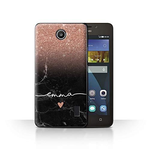 Personalisiert Hülle Für Huawei Y635 Handschrift Glitter Ombre Roségold FunkeIn Schwarz Marmor Design Transparent Ultra Dünn Klar Hart Schutz Handyhülle Case