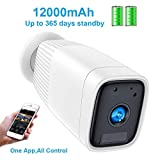 Outdoor Camera Wireless,FUVISION Outdoor Security Camera,1080P Outdoor Camera with Motion Detect,Night Vision,IP66 Waterrproof,12000mAh Battery,2-Way Audio IP Security Cameras Wireless Outdoor(White)