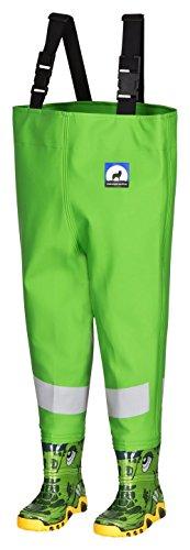AWN Kinderwathose grün Gr. 32/33 mit Breiten Reflexstreifen