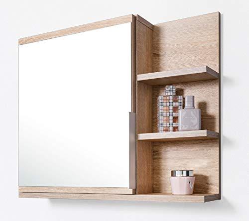 Domtech Home Decor Armario con espejo, con estantes, espejo de baño, roble Sonoma, R
