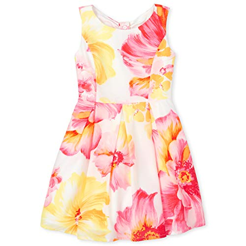 The Children's Place Girls' Floral Fit And Flare Dress Simplywht 16