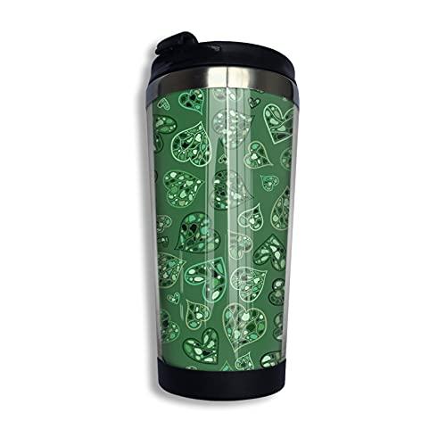 LYYNBLA Taza de viaje con diseño de corazones verdes de acero inoxidable con tapa de 400 ml