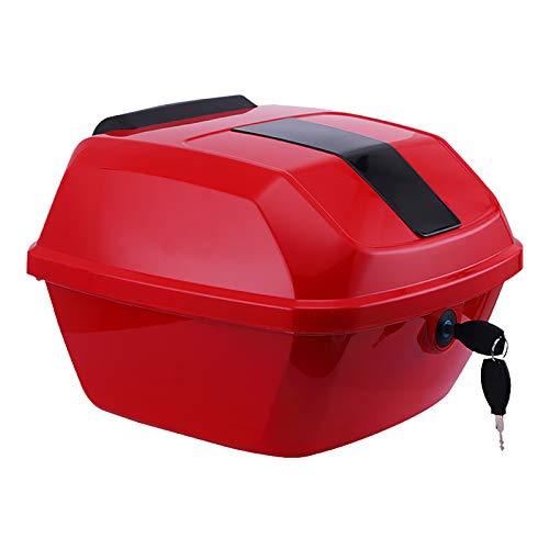 Caja superior universal para motocicleta, caja trasera para almacenamiento de equipaje resistente y duradera, caja superior para maletero con accesorios de montaje y luz de advertencia nocturna