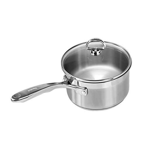 Chantal Induction 21 Steel Sauce Pan with Glass Tempered Lid (2-Quart)