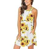 CYGGA Damen O-Ausschnitt Sexy Kleider Boho Kleidung Damen Ärmelloses Kleid Blumendruck Vintage...