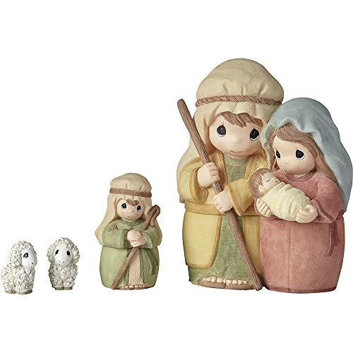 Precious Moments 201406 Celebrate The Miracle at The Heart of Christmas 4-Piece Nesting Nativity Set Figurine, One Size, Multicolored