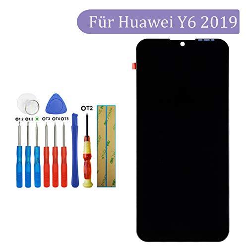 Tangzhi LCD Display Kompatibel mit Huawei Y6 2019 MRD LX1F MRD LX1 MRD LX3 Y6 Prime 2019 Y6 Pro 2019 MRD LX2 Schwarz ohne Rahmen LCD Display Touchscreen Bildschirm Digitizer Assembly Glas Tools