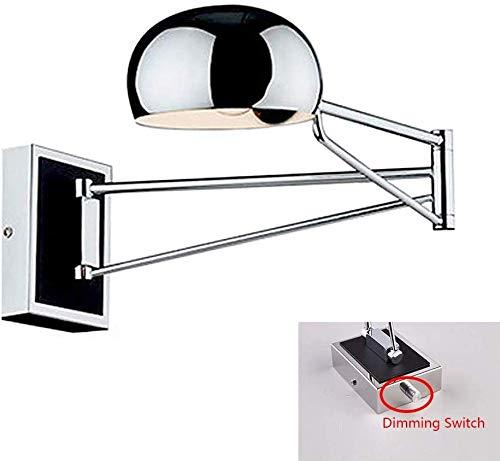 Wandlamp verstelbaar met schakelaar van de leeslamp onovertroffen warme kwaliteit Customer Care Sconce Monti metalen wandlamp Dimmer switch zilverkleurig.