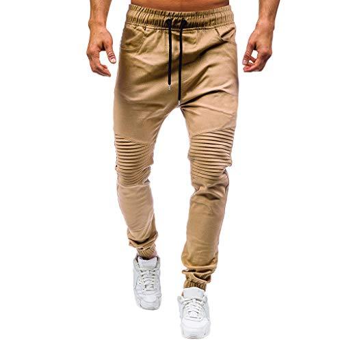 Overdose Pantalones De Hombre De Moda Casual Al Aire Libre Pantalones De Trabajo Multibolsillos Sólidos Pantalones Largos De Carga Puños Elásticos Diseño Plisado Original