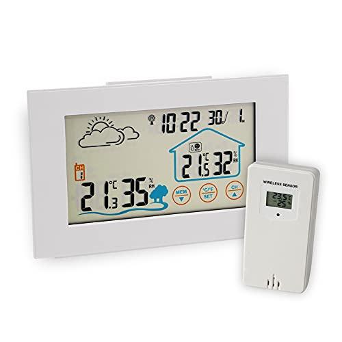 FACKELMANN Premium Wetterstation Funk mit Außensensor Tecno, Elegante Multifunktionale Funkwetterstation mit Wettervorhersage, Radiowecker, Farbdisplay & Touchscreen